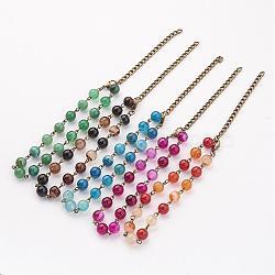 """Braguilles naturelles, avec fermoirs mousquetons en laiton et les accessoires en fer, couleur mixte, 9"""" (229 mm)(AJEW-AN00182)"""
