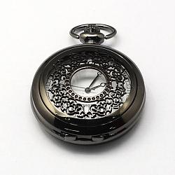 Vintage plats ronds alliage de zinc cadrans creux de montres à quartz pour création de montre de poche collier pendentif , bronze antique, gunmetal, 59x46x14mm, Trou: 16x4mm(WACH-R005-33)
