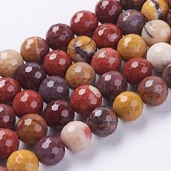 """Chapelets de perles en mookaite naturelles, facette, rond, couleur mixte, 10mm, trou: 1mm; environ 38 pcs/chapelet, 15.75""""(G-G542-10mm-05)"""