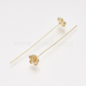 Brass Pins, Real 18K Gold Plated, Nickel Free, Flower, 48~51mm, Pin: 0.7mm(X-KK-T038-589G-NF)