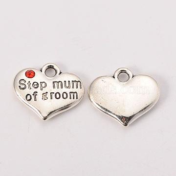 Wedding Theme Antique Silver Tone Tibetan Style Alloy Heart with Step Mum of Groom Rhinestone Charms, Cadmium Free & Lead Free, Hyacinth, 14x16x3mm, Hole: 2mm(X-TIBEP-N005-25A)