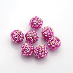 Бусины со стразами из смолы, с желе внутри стиля, AB цвет, круглые, ярко-розовые, 14x12 мм, отверстие : 2 мм(RESI-S253-14mm-GAB3)