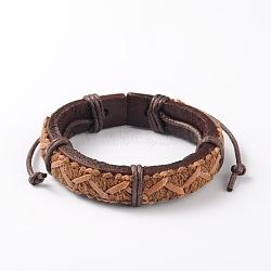 Bracelets réglables unisexe en corde de peau de vache, Sandybrown, 56x51mm(BJEW-L544-14B)