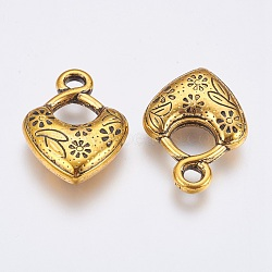 Пластмассовые подвески ccb, Сердце со цветками , античное золото , 33x24x7 мм, отверстие : 3.5 мм(CCB-P006-050)