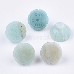 pendentifs amazonite naturelles, gousse de lotus, 16x12 mm, trou: 1 mm(G-S349-11B)