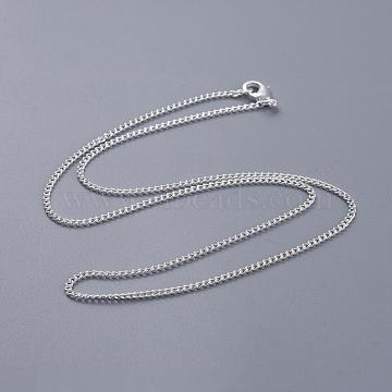 Brass Twisted Curb Chain Necklace Making, with Lobster Claw Clasps, Silver, 18 inches; 2mm(NJEW-BB10884-18)
