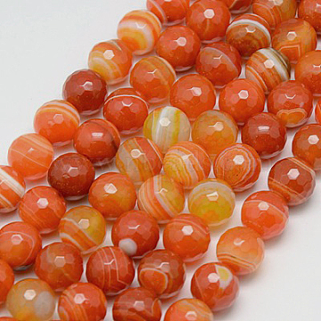 6mm OrangeRed Round Banded Agate Beads