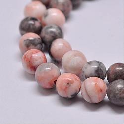 Chapelets de perles de jaspe zèbre rose naturel, rond, 8.5~9mm, trou: 1mm; environ 46 pcs/chapelet, 15.2''(G-P231-01-8mm)