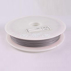 1 Roll Beading Wirer, Tiger Tail Wire, Nylon-coated Steel, LightGrey, 0.38mm, 70m/roll(X-TWIR-70R0.38MM-1)