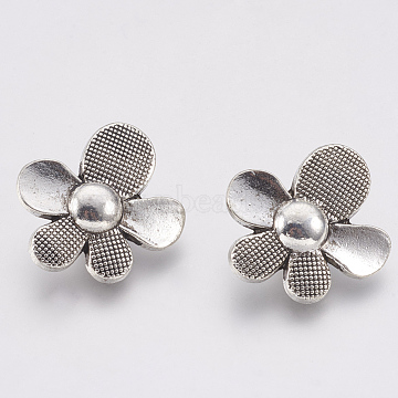 Tibetan Style Alloy Buttons, Flower, Cadmium Free & Lead Free, Antique Silver, 20x18x8mm, Hole: 1.5mm; about 400pcs/1000g(TIBE-T011-211AS-LF)