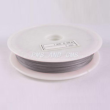 1 Roll Beading Wirer, Tiger Tail Wire, Nylon-coated Steel, Light Grey, 0.38mm, about 229.65 Feet(70m)/roll(X-TWIR-70R0.38MM-1)