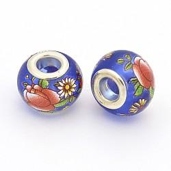 image de fleur en verre imprimé perles européennes, grand trou perles rondelle, avec des noyaux de laiton de ton argent, bleu, 14x11 mm, trou: 5 mm(GPDL-J029-E26)