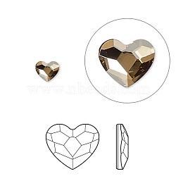 strass cristal autrichien, 2808, passions de cristal, déjouer retour, coeur à facettes, 001 gsha_cristal d'ombre d'or, 6x6x3 mm(X-2808-6mm-001GSHA(F))