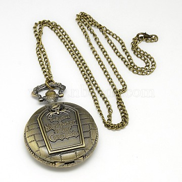Alloy Flat Round Pendant Necklace Pocket Watch, with Iron Chains and Lobster Claw Clasps, Quartz Watch, Antique Bronze, 31.5 inches, Watch Head: 58x46x15mm(WACH-N012-07)