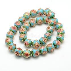 """Millésime cloisonné main chapelets de perles rondes, colorées, 12mm, trou: 1 mm; environ 14.6"""", 33 pcs / chapelet(CLB-O002-01)"""