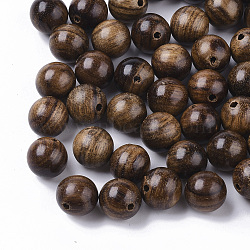 Natural Wood Beads, Waxed Wooden Beads, Undyed, Round, Coconut Brown, 8mm, Hole: 1.5mm(X-WOOD-S666-8mm-03)
