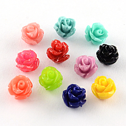Perles en corail synthétique teinte, fleur, couleur mixte, 6~7x6mm, Trou: 1mm(CORA-R011-31)