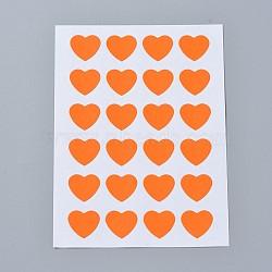 Autocollants en papier kraft, étiquettes autocollantes jet d'encre, cœur, orange, 120x88mm; coeur: 14x16mm; environ 24pcs / feuille, 12TIRAGES / sac(AJEW-WH0077-01D)