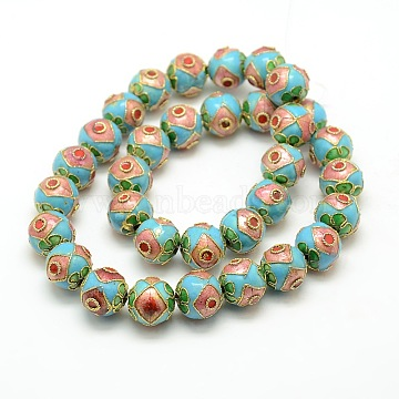Vintage Handmade Cloisonne Round Bead Strands, Colorful, 12mm, Hole: 1mm, about 14.6 inches, 33pcs/strand(CLB-O002-01)