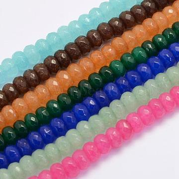 8mm Mixed Color Abacus White Jade Beads