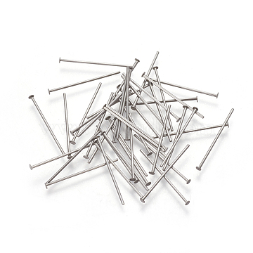 304 Stainless Steel Flat Head Pins, Stainless Steel Color, 21x0.6mm, Head: 1.5mm(STAS-I101-57P)