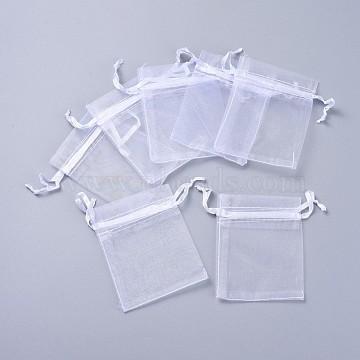 Organza Bags, White, 9x7cm(OP011Y-6)