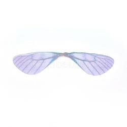 Bijoux de mode boucles d'oreilles bijoux accessoires, pendentifs en tulle de fibres, ailes de libellule, mediumslateblue, 18~19x85~90x0.1mm, Trou: 1mm(DIY-WH0130-02F)