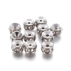 304 perles de strass en acier inoxydable, colonne, cristal, 6x4 mm, trou: 1.4 mm(STAS-E474-54B-P)