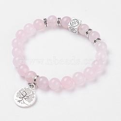 rose naturelle bracelets élastiques de quartz, avec pendentifs en alliage et résultats, arbre de vie et ohm, emballage de toile de jute, 2-1 / 8 (5.3 cm)(X-BJEW-JB03771-04)