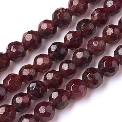 """Chapelets de perles de grenat naturel, facette, rond, 4mm, trou: 1mm; environ 91 pcs/chapelet, 15"""" (38.5 cm)(G-E302-085-4mm)"""