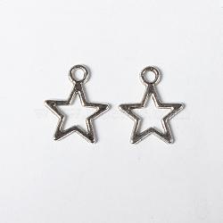 Argent antique breloques d'étoile en argent tibétain, sans plomb, sans cadmium et sans nickel, longueur d'environ 14 mm ,  largeur de 10 mm, épaisseur de 2mm, Trou: 1.5mm(X-LF10686Y-NF)