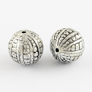 Round Antique Acrylic Beads, Antique Silver, 9mm, Hole: 2mm(X-PACR-S208-07AS)