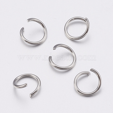 304 Stainless Steel Open Jump Rings, Stainless Steel Color, 21 Gauge, 6x0.7mm; Inner Diameter: 4.6mm; about 400pcs/20g(X-STAS-A036-01B)