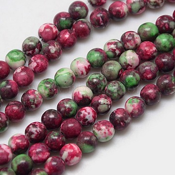 Synthetic Fossil Beads Strands, Dyed & Heated, Round, DarkRed, 4mm, Hole: 1mm; about 90pcs/strand, 15.7inches(G-L028-4mm-01)