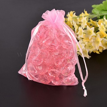 Organza Bags, Mother's Day Bags, Pink, about 7cm wide, 9cm long(OP011Y-2)