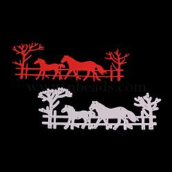 Cadre de cheval en acier au carbone meurt pochoirs, pour bricolage scrapbooking / album photo, carte de papier de bricolage décoratif, mat platine, 5.5x13.8x0.08 cm(DIY-F028-36)