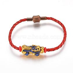 """Cordon en cuir pu bracelets de perles de style européen, avec des perles en émail allié (la couleur change avec la température) et des fermoirs en laiton, Pi Xiu, rouge, 7-1/8"""" (18cm); 3mm(BJEW-L639-09)"""