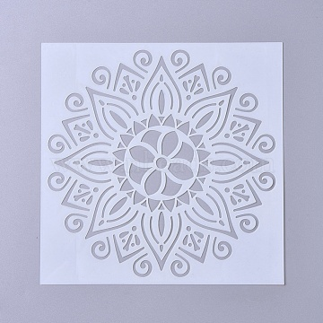 Plastic Drawing Stencil, Mandala Template for DIY Scrapbooking, White, 150x150x0.3mm(X-DIY-WH0156-09D)
