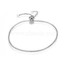 """Bracelets réglables en 304 acier inoxydable, avec des chaînes rolo et des billes de curseur, couleur inoxydable, 9-7/8"""" (25 cm)(X-BJEW-L653-003P)"""