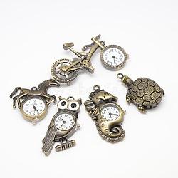 Mixed Styles Vintage Alloy Quartz Watch Heads Pendants for Pocket Watch Necklace Making, Antique Bronze, 42~67x25~43x7~8mm(WACH-M109-M02)