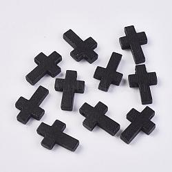 Pendentifs en bois, teint, croix, noir, 22x15x4.2mm, Trou: 2mm(WOOD-WH0020-A02)