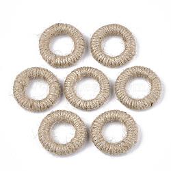 Handmade Woven Linking Rings, Hemp Cord Covered with Wood, Ring, BurlyWood, 35~36x7~11mm, Inner Diameter: 19~21mm(X-WOVE-T006-122)
