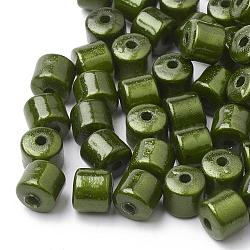Perles acryliques miracle peintes, Perle en bourrelet, colonne, olivedrab, 8x8~9mm, trou: 2 mm; environ 1200 pcs / 500 g(PB13A9343-12)