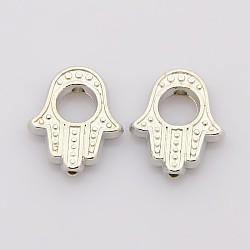 Cadres de perles en alliage de style tibétain, sans plomb et sans cadmium, hamsa main / main de fatima / main de miriam, platine, 15.5x13x3mm, Trou: 1mm, intérieur: 5 mm(X-TIBEB-LF0265YKG-P-LF)