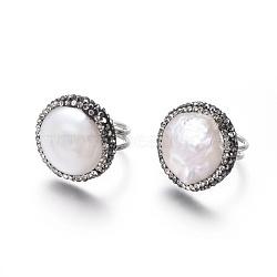 Bagues réglables en strass en pâte polymère, avec les accessoires de perles et en laiton, plat rond, jet, taille 6, 16.5mm(RJEW-K229-C01)