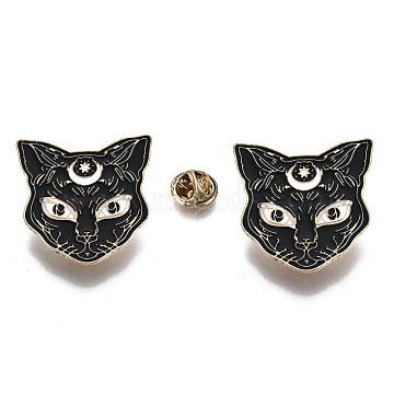 Alloy Brooches, Enamel Pin, with Brass Butterfly Clutches, Cat Shape, Light Gold, Black, 37x37.5x2mm, Pin: 1mm(X-JEWB-S011-063)