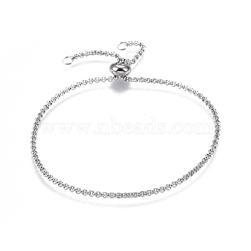 Adjustable 304 Stainless Steel Slider Bracelets, with Rolo Chains and Slider Stopper Beads, Stainless Steel Color, 9-7/8inches(25cm)(X-BJEW-L653-003P)