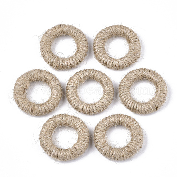 Handmade Woven Linking Rings, Jute Twine Covered with Wood, Ring, BurlyWood, 35~36x7~11mm, Inner Diameter: 19~21mm(X-WOVE-T006-122)