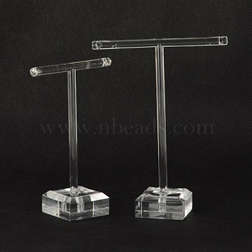 T Bar Organic Glass Earring Display Stand, T Bar with Two Holes, Clear, 6x9cm, 8x11cm, 2pcs/set(X-EDIS-G001-01)