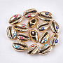 Electroplated Cowrie Shell Beads, Undrilled/No Hole Beads, with Enamel, Cowrie Shell Shape with Evil Eye, Mixed Color, 18~21x11~15x8mm